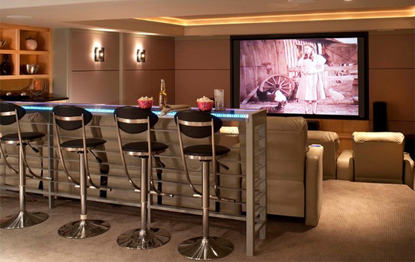 Interesting Media Rooms And Theaters With Bars Home Design Lover
