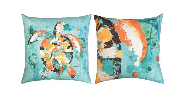Sea Turtle Indoor/Outdoor Reversible Pillow 18 In.