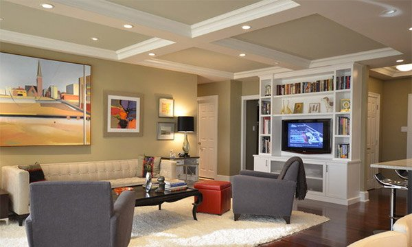 Coffered ceilings in 15 contemporary living rooms home for Drywall designs living room