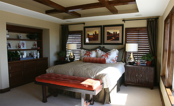 Asian inspired master bedroom coastal decor