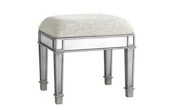 Hayworth Vanity Bench, Silver