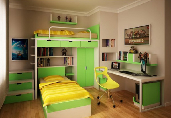 Yellow Green Teen Bedroom