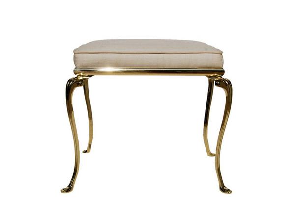 Italian Brass Vanity Bench with Silk Top