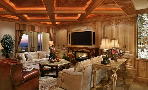 15 beautiful traditional coffered ceiling living rooms for Condo ceiling design