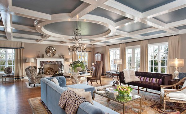 Coffered ceilings in 15 contemporary living rooms home for Coffered ceiling styles