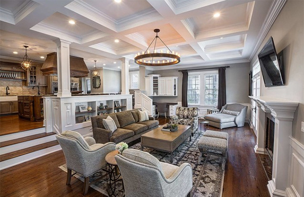 15 beautiful traditional coffered ceiling living rooms What to do with an unused living room