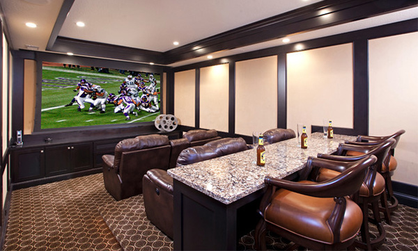 15 Interesting Media Rooms and Theaters With Bars | Home Design r on bar bathroom designs, bar architecture, bar home furniture, bar countertops, bar plumbing, bar ceiling fans,