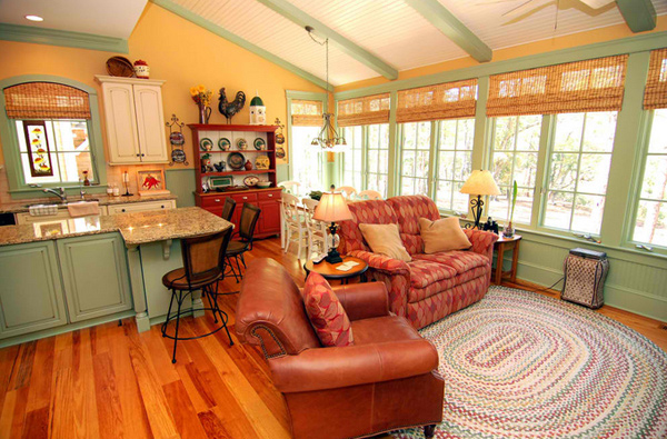 15 homey country cottage decorating ideas for living rooms for Home decor family room