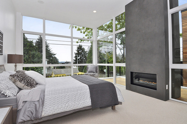Contemporary Bedrooms With Fireplace