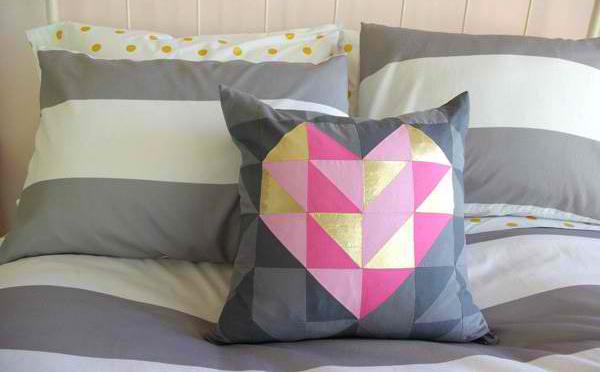 DIY Geometric Heart Pillows
