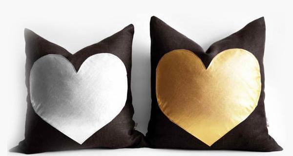 Gold Silver Heart Pillows