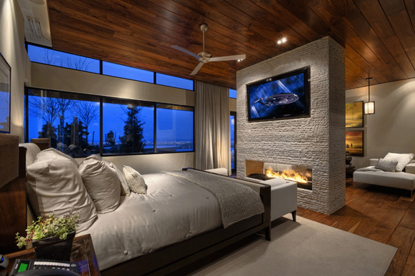 16 ideas for contemporary bedrooms with fireplace | home design lover