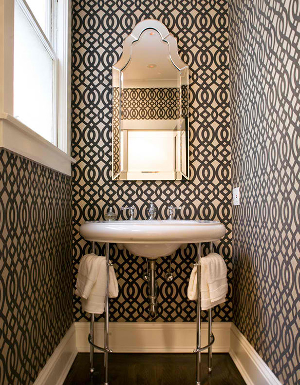 black and white graphic wallpaper bathroom - Wallpaper For Bathroom