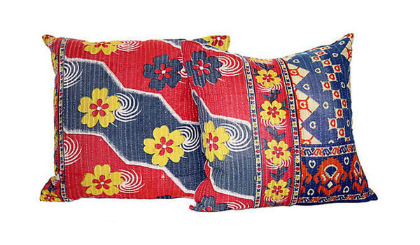 Kantha Sari Pillows
