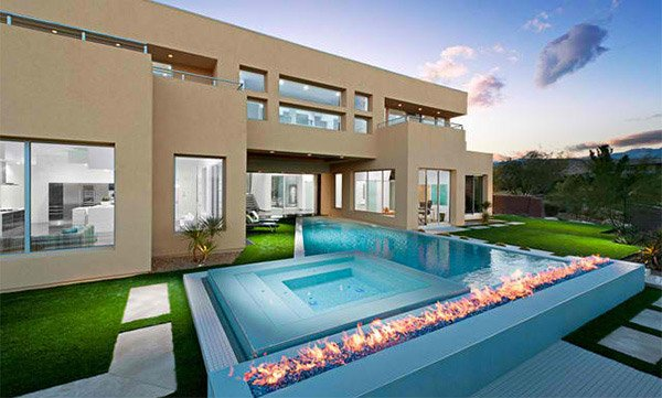 modern pool designs. Long Fire Pit Modern Pool Designs E