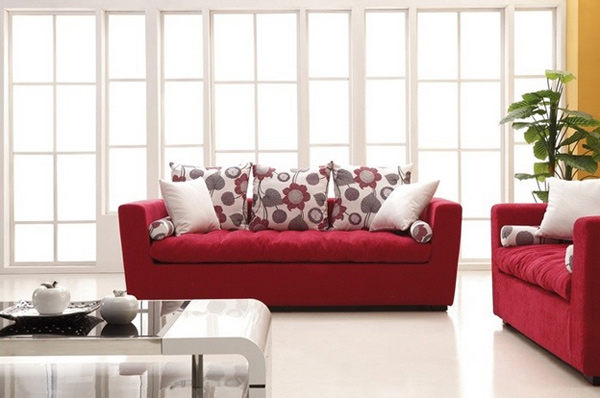 bright red sofas
