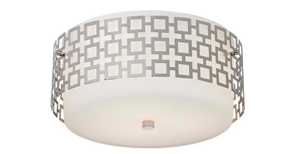 Parker 15 1/4 Wide Nickel Ceiling Light