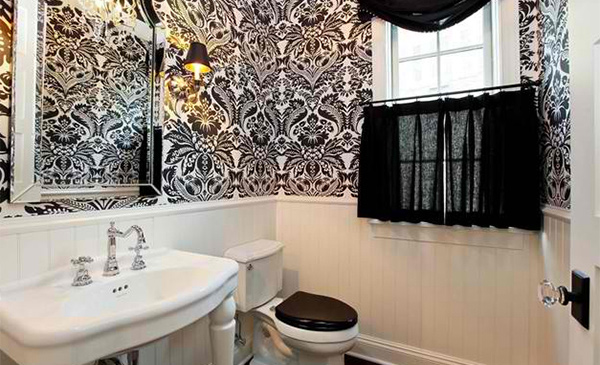 Black And White Wallpaper In 15 Bathrooms Powder Rooms
