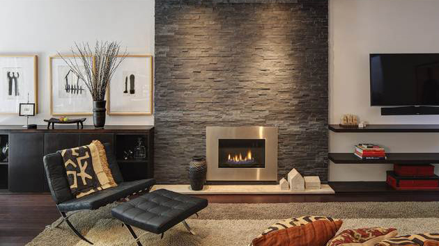 So if you think only old homes have brick wall fireplaces
