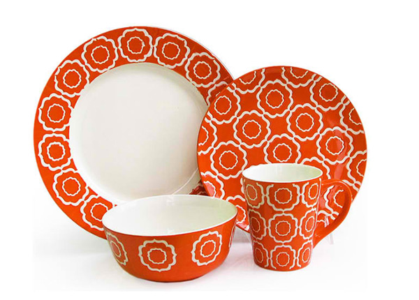 Trellis 16 Piece Dinnerware Set, Orange
