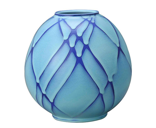 Round Flower Vessel with Blue Tint
