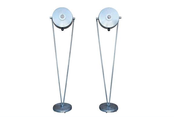 Pair of Polished Steel Industrial Floor Lamps