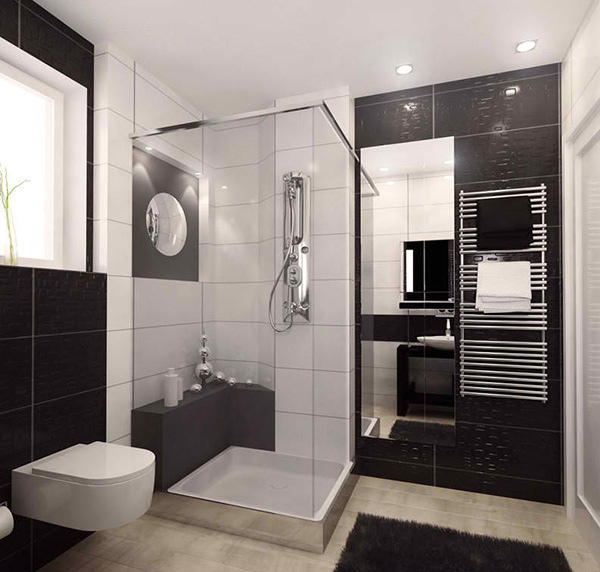 Ideas For Black And White Bathroom Part - 43: Modern Apartment Guest Bathroom