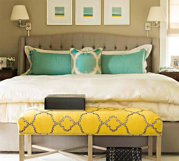 15 Gorgeous Grey, Turquoise and Yellow Bedroom Designs | Home Design ...