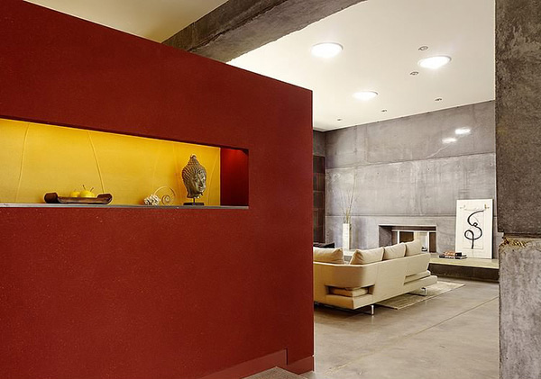 red partition wall
