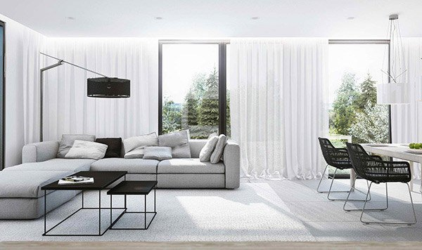 15 modern white and gray living room ideas home design lover for Grey and white living room ideas