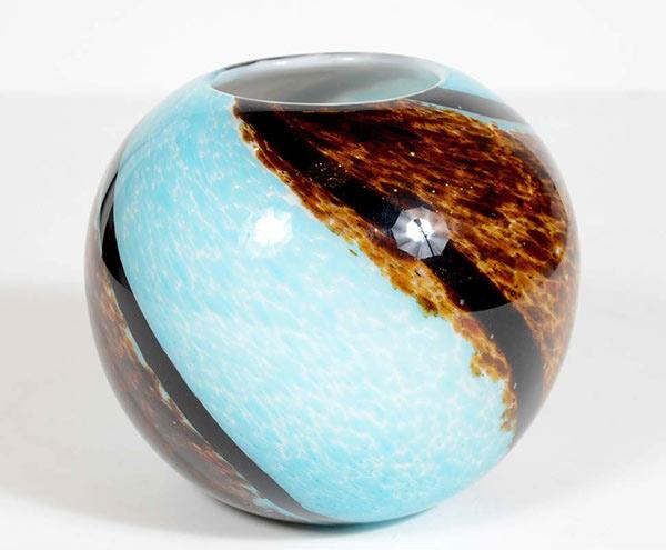 Mid-Century Spiral Hand Blown Murano Glass Round Vase
