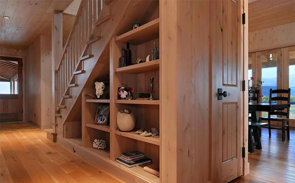 Elegant Under Staircase Shelves