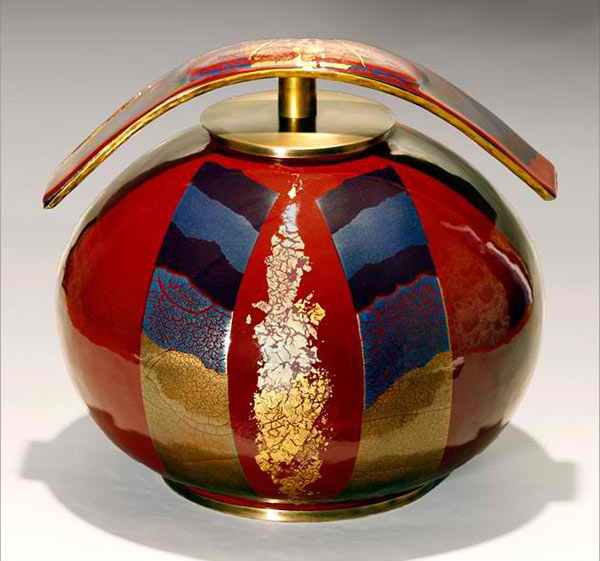 Round vase, solid enamel two golds and crystal
