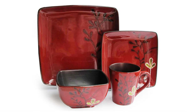 Elise Red 16 Piece Dinnerware Set. Email; Save Photo. Tide Pools Printed  Cotton Curtain