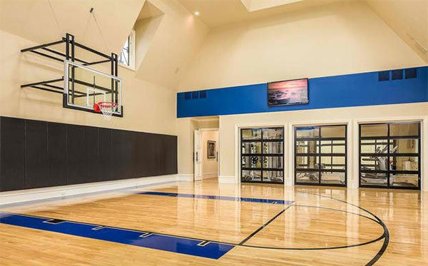15 ideas for indoor home basketball courts home design lover for Cost of building a gym