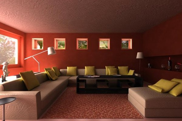 Luxurious Living Room Gold And Maroon Wall