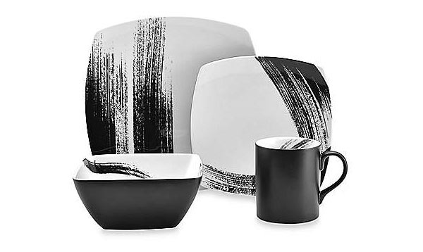 Mikasa Brushstroke 4-Piece Square Place Setting  sc 1 st  Home Design Lover : white and black dinnerware - pezcame.com