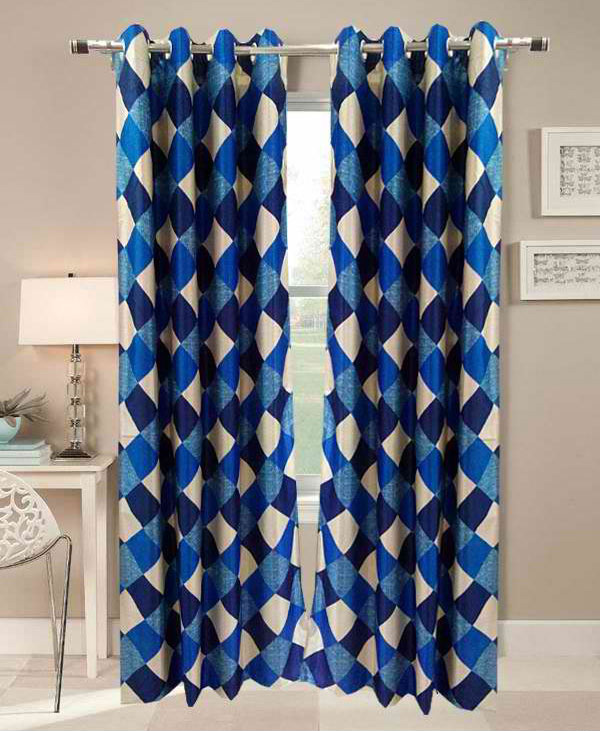 Beautiful Checks Blue Window (5x4 ft) Curtain