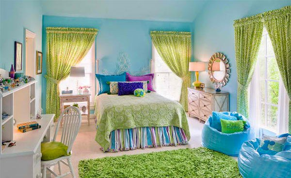 Girl's Bedroom Green Blue Color Bed