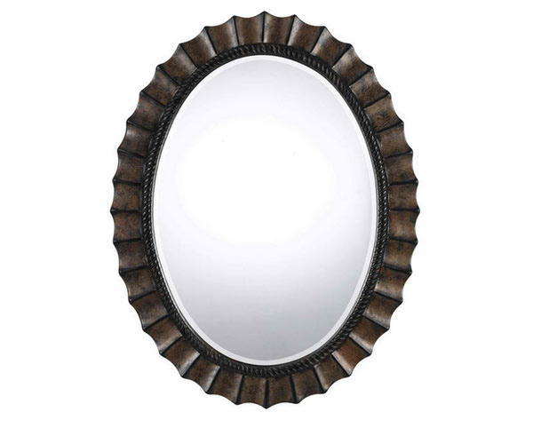 Cal Lighting Wa-2160Mir Sycamore Oval Polyurethane Beveled Mirror