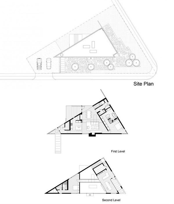 Komai residence a creative triangular house in virginia for Triangular house floor plans