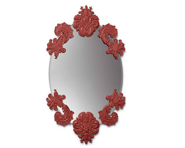Lladro Oval Mirror Without Frame Red