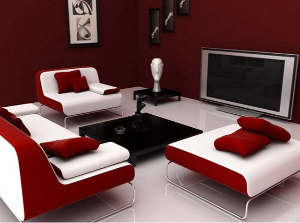 Maroon Living Room