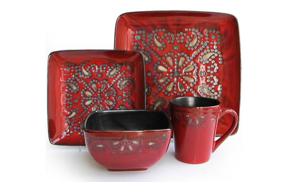 Marquee Red 16 Piece Dinnerware Set