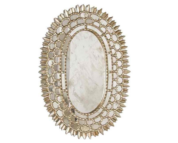 Worlds Away Carmelita Silver Oval Mirror