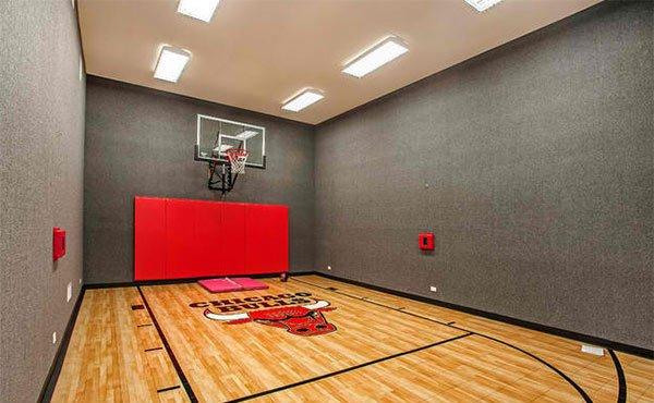 15 ideas for indoor home basketball courts home design lover for How big is a basketball court