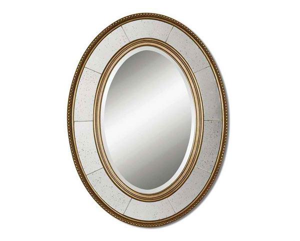 Lara Oval Champagne Silver Mirror