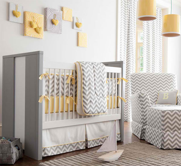 Gray and Yellow Crib Bedding