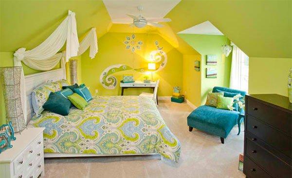 Gentil Blue And Lime Green Bedroom