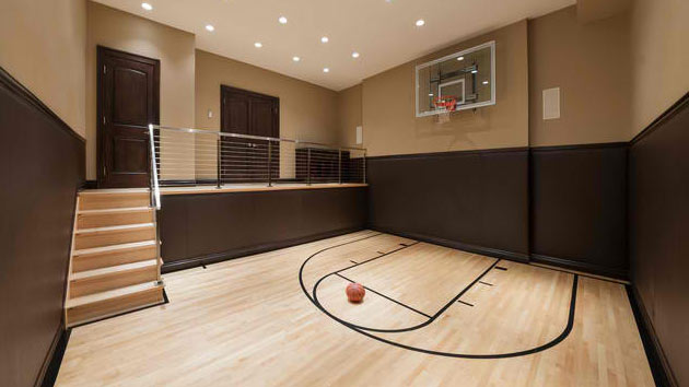 Mansion with indoor basketball court  15 Ideas for Indoor Home Basketball Courts | Home Design Lover